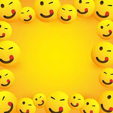 Marco de fondo con Emoji sonriendo, guiñando un ojo y lamiendo la boca con la lengua pegada Ilustración de vector