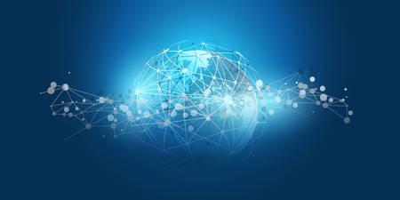 Modern Minimal Style Cloud Computing, Networks Structure, Telecommunications Concept Design, Network Connections, Transparent Geometric Wireframe - Vector Illustration Ilustração
