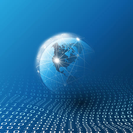 Blue Cloud Computing and Global Networks Concept Design for Business, IT or Technology with Earth Globe, Wire Mesh And Digital Matrix, Bits Pattern, Ones and Zeros