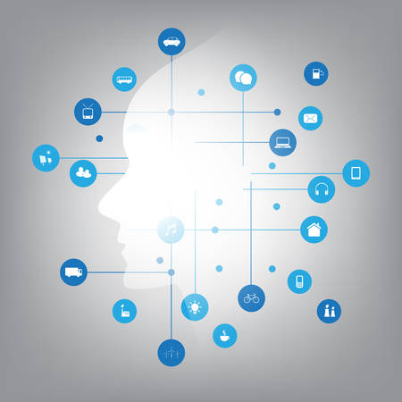 Apprendimento automatico futuristico in stile moderno, intelligenza artificiale, cloud computing e concetto di design di reti IoT con icone connesse, rete mesh Vettoriali