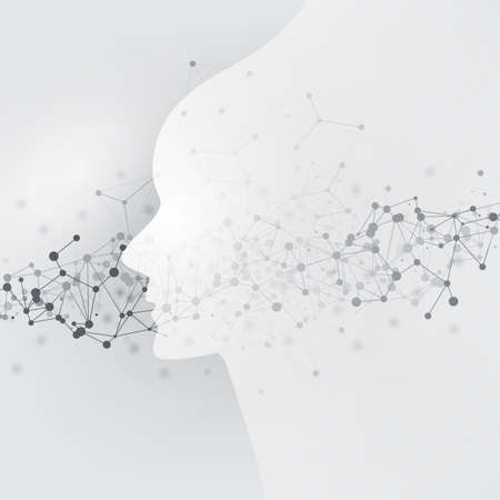 Abstract Machine Learning, Artificial Intelligence, Cloud Computing and Networks Design Concept with Geometric Network Mesh and Human or Robot Head Silhouette Ilustração