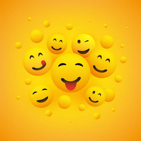 Various Smiling Happy Emoticons in Front of a Yellow Background, Vector Concept Ilustração