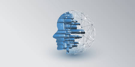 Smart City, Automated Digital Control, Deep Learning, Artificial Intelligence and Future Technology Concept Design with Network Connections, Cityscape and Human Head