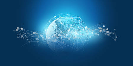 Modern Minimal Style Cloud Computing, Networks Structure, Telecommunications Concept Design, Network Connections, Transparent Geometric Wireframe
