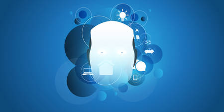 Abstract Technology, Machine Learning, Artificial Intelligence, Cloud Computing, Automated Support Assistance Design Concept with Robot Head
