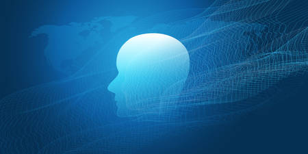 Machine Learning, Artificial Intelligence, Cloud Computing, Networks or Human Digital Connections Design Concept with Geometric Network Mesh and Human or Robot Head Ilustração