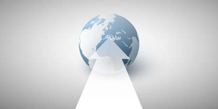 3D Earth Globe Concept Design - Abstract Business or Technology Background with Arrow - Vector Illustration