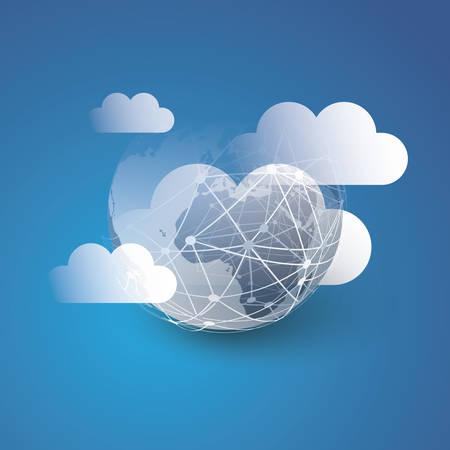 Cloud Computing Design Concept - Digital Connections, Technology Background with Earth Globe and Clouds