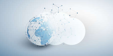 Cloud Computing Design Concept - Digital Connections, Technology Background with Earth Globe and Geometric Network Mesh Ilustração