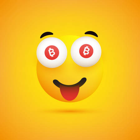 Smiling Emoji with Bitcoin Signs in the Eyes - Simple Happy Emoticon on Yellow Background - Vector Design
