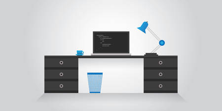 Desk with Laptop Computer - Remote, Freelance Working at Home Concept Design