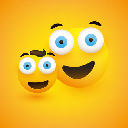 Couple of Smiling Emoji - Friends, Father and Son - Simple Happy Emoticons with Pop Out Eyes on Yellow Background - Vector Design