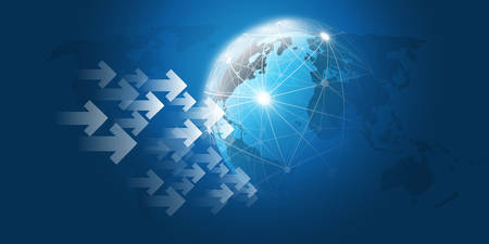 Cloud Computing Design Concept with Earth Globe - Global Business, Digital Network Connections, Technology Concept