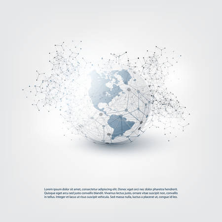 Cloud Computing and Global Networks Concept Design with Earth Globe and Geometric Network Mesh