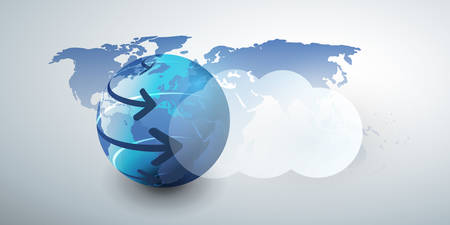 Cloud Computing Design Concept - Digital Connections, Technology Background with Arrows Around Earth Globe Illustration