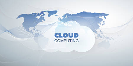 Cloud Computing Design Concept - Digital Connections, Technology Background with World Map and Wavy Lines
