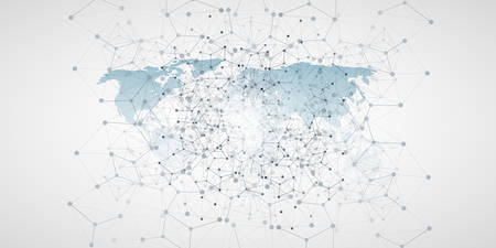 Cloud Computing and Global Networks Concept Design with World Map and Geometric Network Mesh