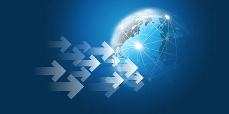 Global Networks, Business, Trading Concept Design with Arrows and Earth Globe Ilustração