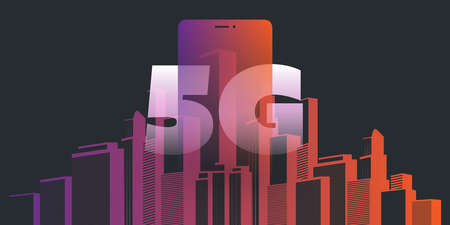 5G Networks - High Speed, Broadband Mobile Telecommunication and Wireless Internet Design Concept with Skyscrapers and Mobile Device