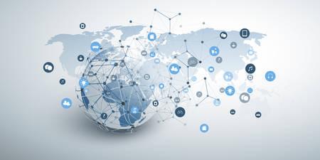 Internet de las cosas, computación en la nube y diseño de concepto de redes globales con globo terráqueo, iconos y malla de red geométrica