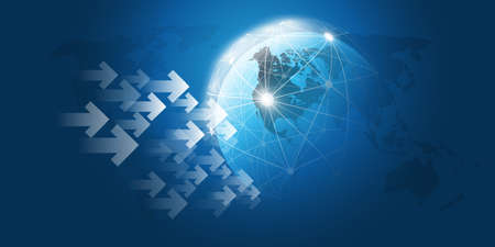 Global Networks and Trading Design Concept with Arrows and Earth Globe - Vector Template for Your Business