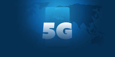 5G Network Label in front of a Smart Phone - High Speed, Broadband Mobile Telecommunication and Wireless Internet Design Concept with World Map and Mobile Device Ilustração