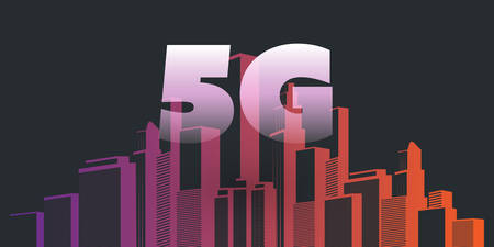 5G Network Label over  Smart City - High Speed, Broadband Mobile Telecommunication and Wireless Internet Design Concept with Skyscrapers