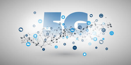 5G Network Label and Networks - High Speed, Broadband Mobile Telecommunication and Wireless Internet Design Concept