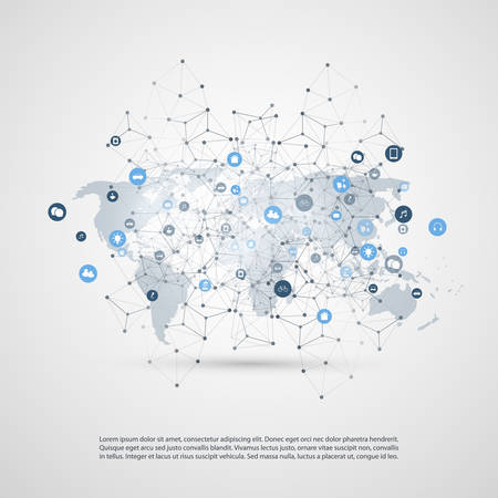 Internet of Things, Cloud Computing Design Concept with World Map, Wireframe and Icons - Global Digital Network Connections, Smart Technology Concept