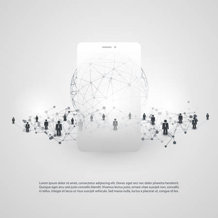 Networks - Modern Style Global Business Connections and Social Media Concept Design with Globe and Smartphone Silhouette