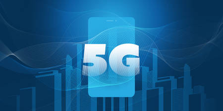 5G Network Label over Smart City - High Speed, Broadband Mobile Telecommunication and Wireless Internet Design Concept with Skyscrapers and Mobile Device
