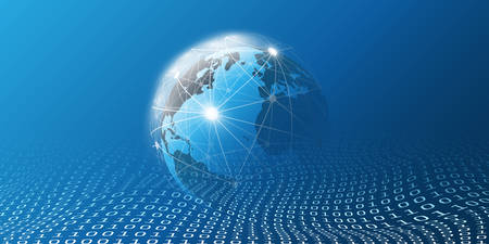 Cloud Computing and Global Networks Concept Design for Business, IT or Technology with Earth Globe, Wire Mesh And Digital Matrix, Bits Pattern, Ones and Zeros