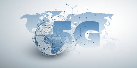 5G Network Label in Front of an Earth Globe and World Map - High Speed, Broadband Mobile Telecommunication and Wireless Internet Design Concept Illustration