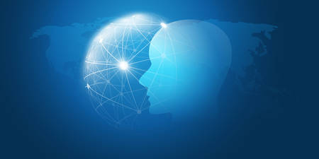 Machine Learning, Artificial Intelligence, Cloud Computing, Networks, Digital Connections Design Concept with Geometric Network Mesh and Human or Robot Head