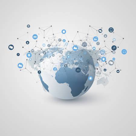 Internet of Things, Cloud Computing Design Concept with Earth Globe and Icons - Global Digital Network Connections, Smart Technology Concept