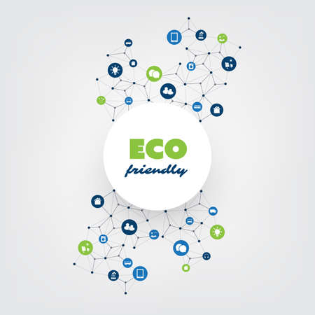 Global Warming, Eco Friendly Connections, Networks - Design Concept with Icons
