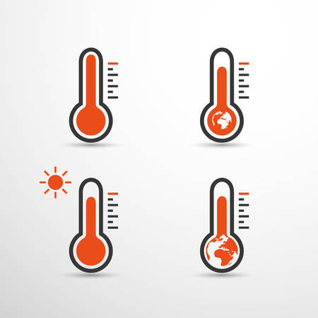 Global Warming, Ecological Problems and Solutions - Concept Icon Set Design with Red Hot Thermometers Illustration