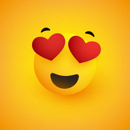 Smiling Face With Heart Shaped Eyes on Yellow Background - Vector Design
