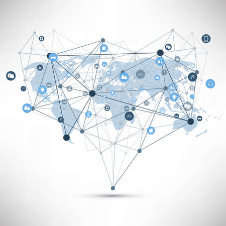 Internet of Things, Cloud Computing Design Concept with Wireframe, World Map and Icons - Global Digital Network Connections, Smart Technology Concept