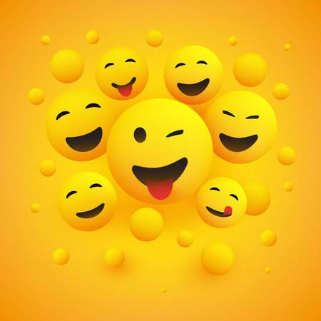 Varios emoticonos felices sonrientes delante de un fondo amarillo, ilustración del concepto de vector