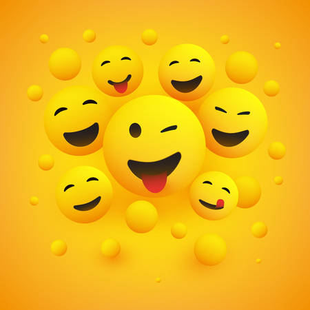 Various Smiling Happy Emoticons in Front of a Yellow Background, Vector Concept Illustration