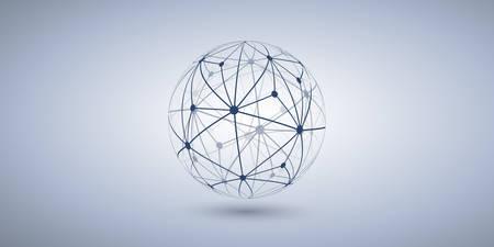 Networks - Transparent Polygonal Globe Design on Grey Wide Background Vetores