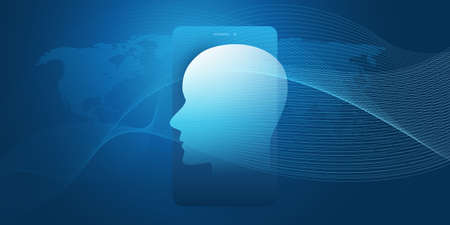 Machine Learning, Artificial Intelligence, Cloud Computing, Networks or Human Digital Connections Design Concept with Geometric Network Mesh, Smartphone, World Map and Human or Robot Head