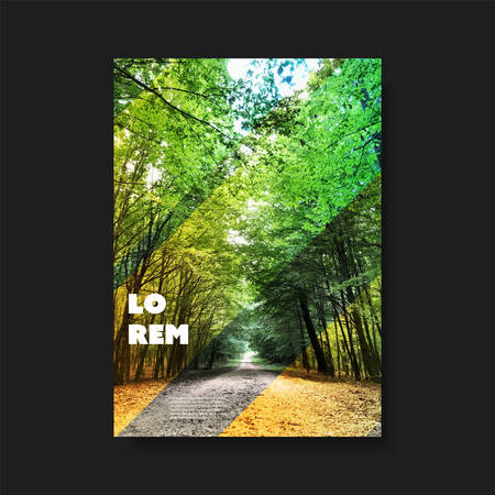 Diseño de portada o folleto de estilo moderno para su empresa con imagen de bosque: aplicable para informes, presentaciones, carteles, carteles, guías de viaje