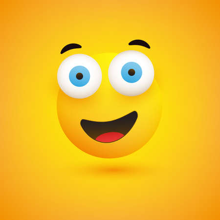 Smiling Emoji - Simple Happy Emoticon with Pop Out Eyes on Yellow Background - Vector Design