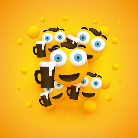 Lots of Smiling Emoji in Front of a Smart Phone - Simple Happy Emoticons with Pop Out Eyes and a Glass of Beer on Yellow Background - Vector Design