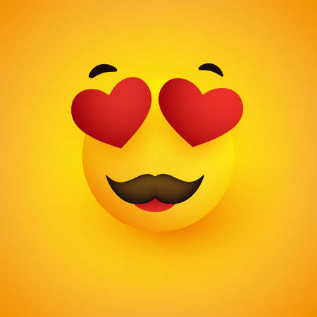 Smiling Face With Heart Shaped Eyes and Mustache on Yellow Background - Vector Design