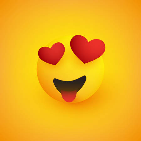 Smiling Face With Heart Shaped Eyes and Stuck Out Tongue on Yellow Background - Vector Design Illustration