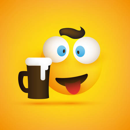 Smiling Emoji - Simple Happy Emoticon with Squinting Pop Out Eyes and a Glass of Beer on Yellow Background - Vector Design