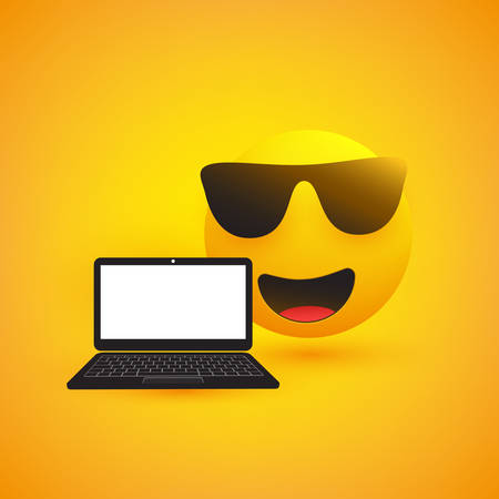Emoji, Emoticon with Sunglasses and Laptop Computer on Yellow Background - Vector Design